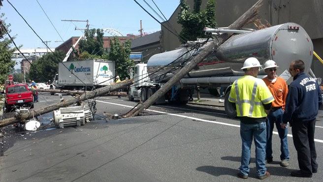 Truck mows down transformer pole